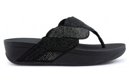 FITFLOP PAISLEY CORDA TOE THONGS Sandálias BLACK